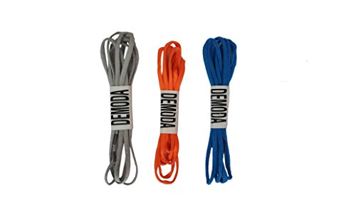 Demoda Round Shoelaces for Sports Shoes(Pack of 3-Blue,Grey,Orange)  available at amazon for Rs.169