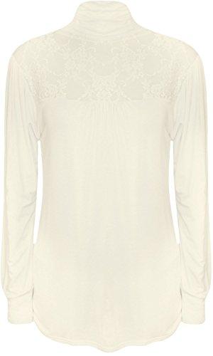 WearAll - Haut long à manches longues avec une poitrine en dentelle et un col roulé - Hauts - Femmes - Grandes tailles 40 à 54 Crème