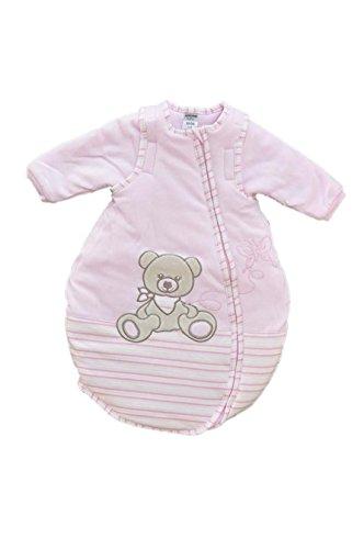 Jacky Mädchen Baby Ganzjahres Schlafsack Langarm, 100% Baumwolle, Rosa/Ringelstreifen, Gr. 74/80, 350013