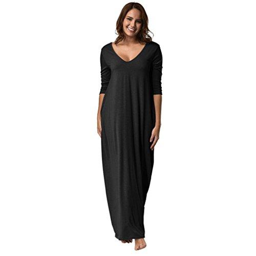 Kanpola Damen Nachthemden Kleid Lang Große Größen Locker Winter Worm Baumwolle Bademäntel Morgenmäntel Elegant Schlafanzüge Nachtwäsche (XL/42, Schwarz)