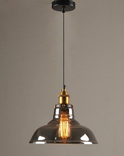 Vintage Loft Pendelleuchte Industriedesign Retro Edison Pendellampe Graues Glas Hängeleuchten Ø28cm E27 Design Wohnzimmerlampe Esszimmerlampe Bar-Lampe MAX.60W Höhenverstellbare Hängelampe 230V