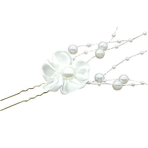Yutongyi Elegant Stilvoll 6 x Perle Haarspangen Haarnadel Hochzeit Braut Schmuck Braut Haar Zubehör Mode Spitze Blume Stil Dekoration