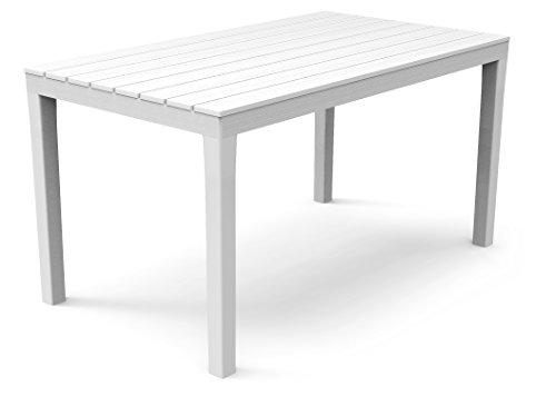 Kunststoff Gartentisch Sumatra weiß mit Platte in Holz Optik, 140 x 80 cm, von IPAE Progarden, Made IN Europe