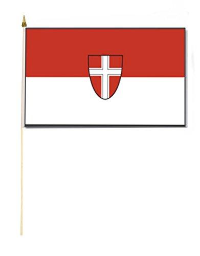 Stockflagge/Stockfahne WIEN mit Wappen Flagge/Fahne ca. 30 x 45 cm mit ca. 60cm Stab/Stock