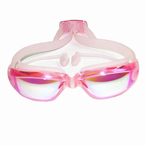 - Zorux - Professionelles Silikon transparent Schwimmbrille Anti-Fog-UV Kinder Sportbrillen Schwimmbrillen mit Ohrhörern für Kinder [Plating Pink]