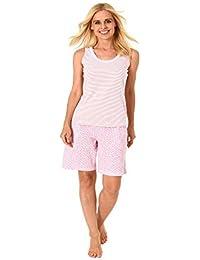 3e23693f8be2b5 Normann Damen Schlafanzug Shorty Pyjama mit Tanktop auch in Übergrössen 205  ...