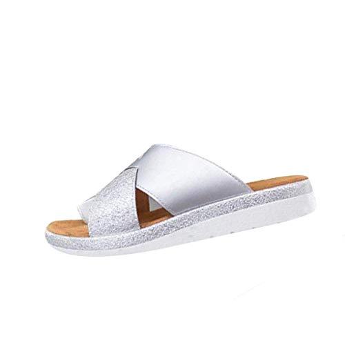 B-commerce Frauen Sandalen mit dickem Boden Schuhe Sandalen mit Keilabsatz Clip Toe Sommer Strandschuhe