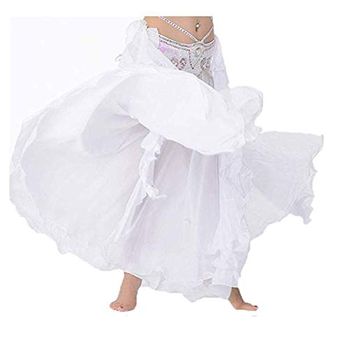 Bauchtanz Big Swing Rock Dance Kostüm Double Chiffon Wave Rock Übungskleidung (Color : White, Size : M) (Swing Dance Kostüm)