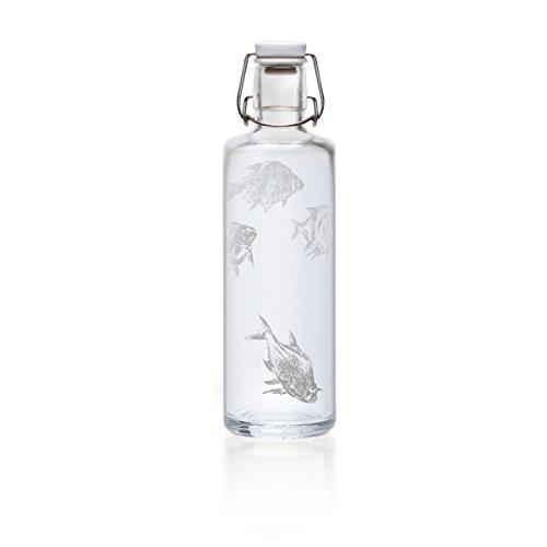 Soulbottles 1,0l Trinkflasche aus Glas • verschiedene Designs, Made in Germany, vegan, plastikfrei, Glastrinkflasche, Glasflasche (Silberfische)