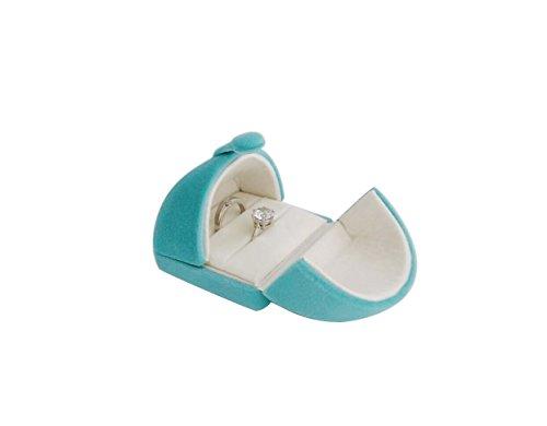 Svea Display Light Blue Velvet Jewelry Box Double Ring -