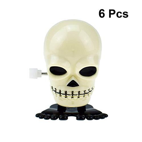 Amosfun 6 stücke Halloween Horror Spielzeug Wind Up Clockwork Spielzeug Springen Schädel im Dunkeln leuchten Cartoon Spielzeug für Halloween Requisiten Decor