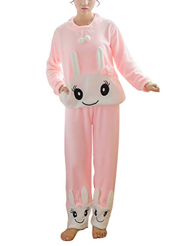 ORANDESIGNE Herbst Winter Pyjamas Damen Mädchen Zweiteiler Ensembles de Pyjama Warm Coral Fleece Samt Nachtwäsche Süße Plüschiger Schlafanzug Langarm Rosa Hase DE 38