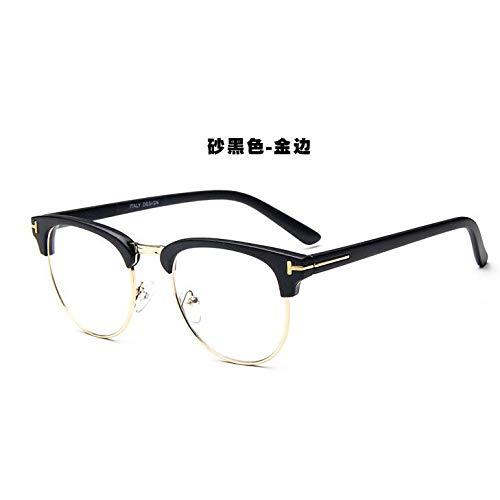 YMTP Designer Gold Semi Randlose Männer Brillen Retro Schwarz Frauen Brillengestell Klare Linse Vintage Brillen