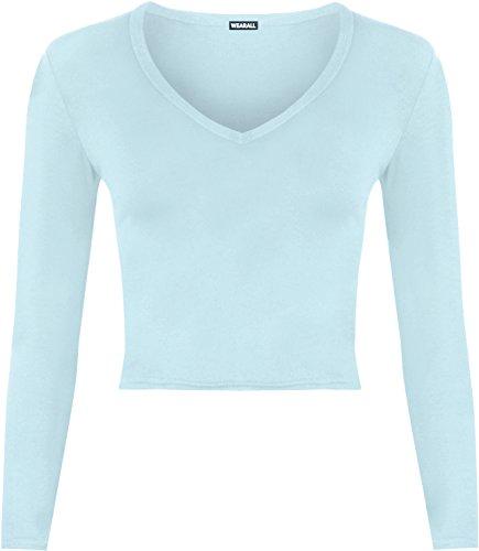 WEARALL Damen Weich Strecke Kurz Ebene V Hals Lang Hülle T-Shirt Damen Ernte Top - 7 Farben - Größe 36-42 Himmelblau