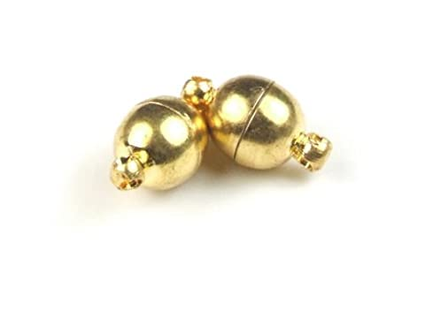 5er Pack Magnetverschluss für Schmuck, basteln, Kugel, 6 mm, goldfarben