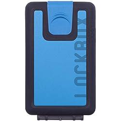 LOCKBOX Cartera Hombre Pequeña Impermeable, Billetero Resistente al Agua - Tarjetero Diseño Original para Tarjetas, Billetes, Monedas o Llaves - Incluye cordón Paracord para Colgar. (Azul)