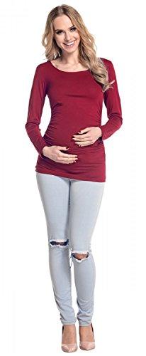 Happy Mama. Donna. Prémaman t shirt. Jersey elasticizzato maternity top. 947p Cremisi