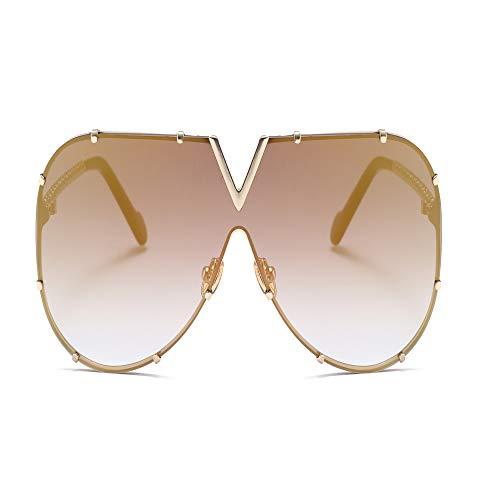 Gezeiten Sonnenbrillen Männer und Frauen der gleichen Mode Persönlichkeit Siamesische Sonnenbrille Coole Persönlichkeit Big Box Sonnenbrille gold