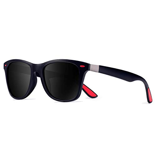CHEREEKI Polarisierte Mode Sonnenbrille mit UV400 Schutz Unisex Klassische Brille für Herren Damen (Blau und Schwarz)