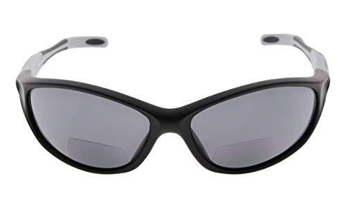 Eyekepper TR90 Rahmen Bifokale Sport Sonnenbrille Baseball Laufen Angeln Fahren Golf Softball Wandern Sonne Leser (Schwarzer Rahmen Grauer Tempel, 1.75)