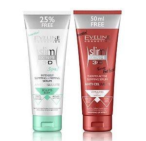 Eveline Cosmetics Slim Extreme 3D Thermo Active Abnehmen Anti-Cellulite-Serum + Eveline Slim Extreme 3D Figurformende und straffende Creme Slimming Serum Anti Cellulite Schlankheitskur 250ml