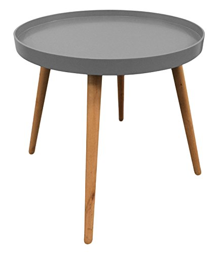THE HOME DECO FACTORY HD3194 Table Plateau Ronde MDF Grise 50,10 x 50,10 x 44,30 cm