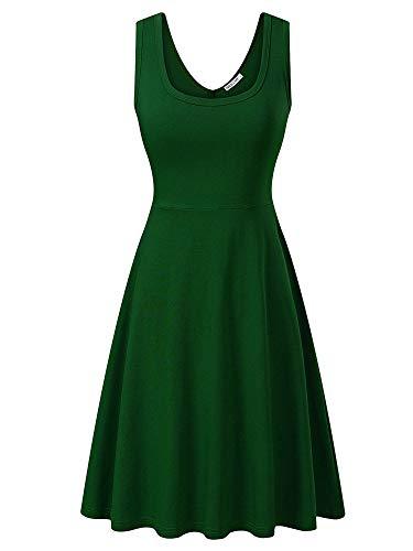 MSBASIC àrmelloses, ärmelloses Kleid mit Rundhalsausschnitt für den Sommer 18023-6, Grün, S Damen Fashion Kleid
