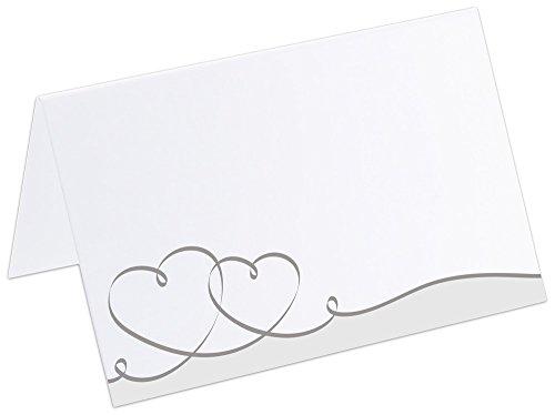 PRICARO Tischkarten Geschwungene Herzen, Silber, 50 Stück