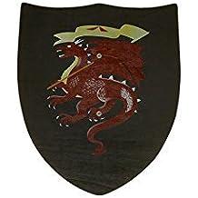 Juguetutto - Escudo Dragón Rojo. Juguete escudo hecho en madera con un dibujo de un dragón rojo en color negro