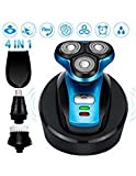 Electric Shaver Razor Beard Trimmer for Men with Hair Clipper Nose Hair Trimmer Facial Cleaning Brush and Wireless Charging Base,IPX7 Waterproof Wet Dry Wireless Rotary Shaver USB Rechargeable (Blue)