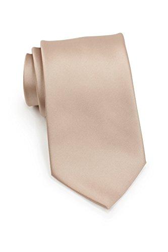 Puccini Schmale Krawatte, einfarbig, verschiedene Farben, Mikrofaser, Satinglanz, Handarbeit, 6 cm Slim Tie, Büro - Hochzeit - Alltag (Hellbraun/Nude)