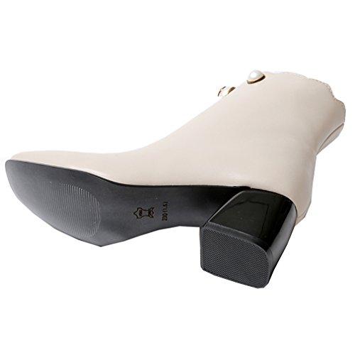 ENMAYER Femmes Classique PU Matériel Solid Square Toe Block Heel Zipper Bottes Abricot