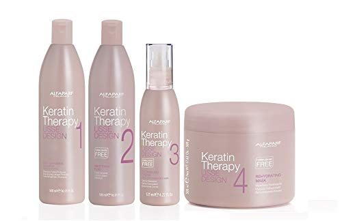 ALFAPARF Lisse Design Keratin Therapy Trattamento Lisciante Completo Deep Shampoo 500ml + Smoothing Fluid 500ml + Detangling Cream 125ml + Mask 500ml
