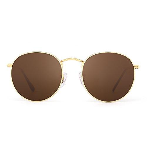 JIM HALO Retro Runden Spiegel Sonnenbrille Vintage Reflektierend Glas Linsen Dame Herre Braun