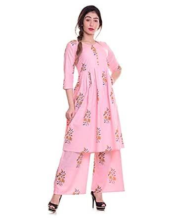 fashiongrape Women's Cotton Anarkali Kurti with Palazzo Pant Set (Pink; Medium)