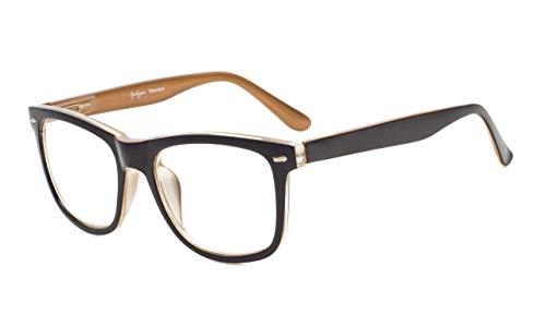 Eyekepper Damen und Herren lesebrillen mit Große Quadratische Gläsern und Federscharniere in Schwarz-Braun +0.75