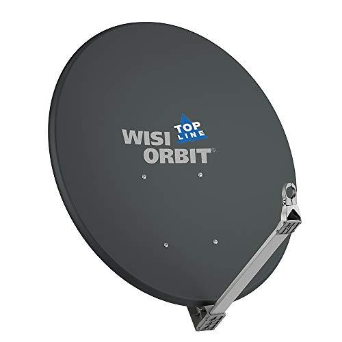 WISI Orbit Topline Satelliten Offset-Antenne OA100H in Basaltgrau – 100cm Reflektor aus Aluminium mit 40mm LNB-Halterung, Feedarm und Mastschellen – Komplette Sat Antenne mit Montagezubehör