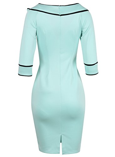 BUOYANCY Damen Elegant hoch Taille Bogen Knielang Etuikleid Business Party Pencil Abendkleid Kleider Hellblau