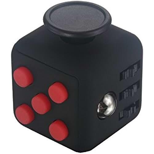 fidget spinner el nuevo juguete de moda Cubo antiestrés con 6 funciones distintas (Fidget Cube) Rojo / Negro