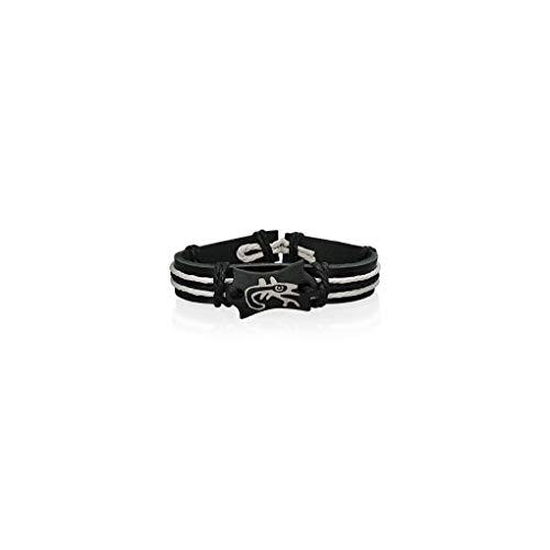 Schmuckprofessionals 20cm Fashion Rope Black Leder & Knochen Spirale Lucky Lizard Watch-Style Armband - Knochen Lizard