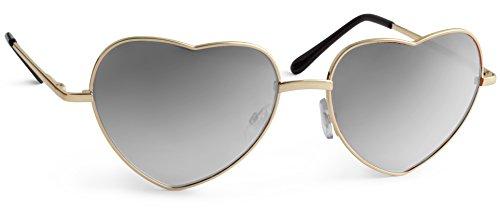 UVprotect Damen Retro Herz Sonnenbrille silber verspiegelt W52