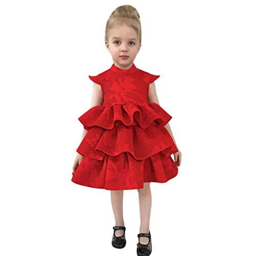 ider Kinder Kleider Sommerkleid Blume Baumwolle Lässige Kinderkleidung Aermellos Vintage Kleid Swing Party Kleider Mädchen Kleid Kinder Rüschen Spitze Party Brautkleider ()