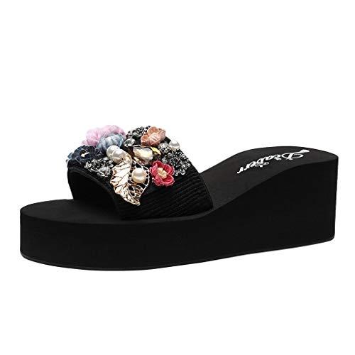 ODRD Sandalen Shoes Lässige Frauen Sommer Böhmischen Open Toe Mode Rutschfeste Keilhausschuhe Perle Strand Schuhe Schuhe Strandschuhe Freizeitschuhe Turnschuhe Hausschuhe