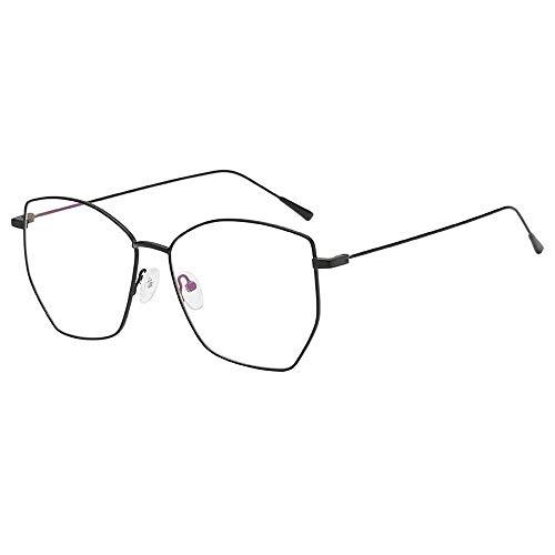 Pingtr - Retro Brille,Unregelmäßige klare Gläser Gläser Vintage Geek Nerd Retro Style Metallrahmen