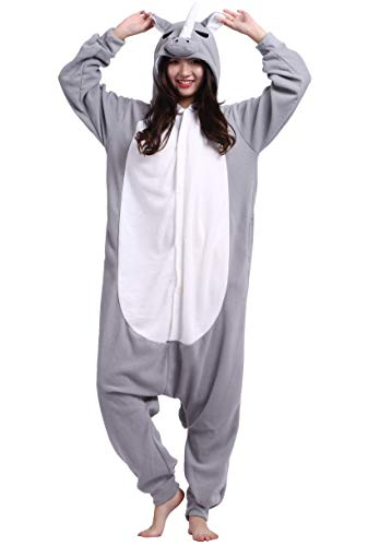 Jumpsuit Onesie Tier Karton Fasching Halloween Kostüm Sleepsuit Cosplay Overall Pyjama Schlafanzug Erwachsene Unisex Lounge Kigurumi Grau Nashorn for Höhe 140-187CM (Für Erwachsene Nashorn Kostüm)