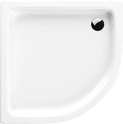 Acryl-Duschwanne 80x80x17 R55 Duschtasse Grando Plus Viertelkreis Duschkabine Styroporträger extra flach Sanitär-Acryl Duschbecken stabil weiß+ Viega Tempoplex -