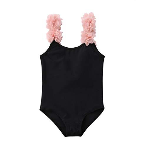 SUNFANY Tankini Bauchweg Badeanzug BademodeEinteiliger Baby MäDchen Bowknot Orange Badeanzug SüßE RüSchen Badebekleidung Chic Beachwear Badebekleidung(Schwarz,100/18-24 Months) (Badeanzüge Ddd)