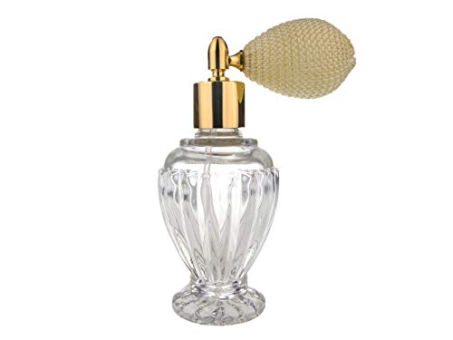 Divo Glasflasche, leer, nachfüllbar, Parfüm-/Duft-Zerstäuber, 46ml, mit elfenbeinfarbener/cremefarbener Ballpumpe und goldfarbener Fassung, inklusive Trichter - Top Antik-creme