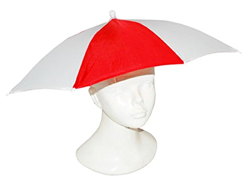 Confettery - Karneval Accessoire Regenschirm-Hut, Kopfbedeckung im Köln-Look, Rot