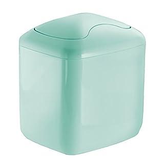 mDesign Cubo de basura – Contenedor basura de plástico color verde menta con 2,7 litros de capacidad – Ideal para la cocina, baño o como papelera oficina